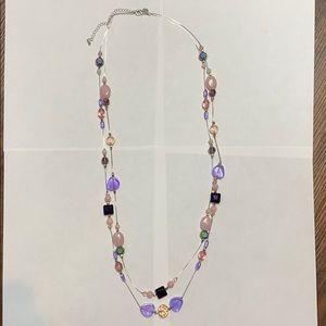 Premier designs silver tone pink purple necklace